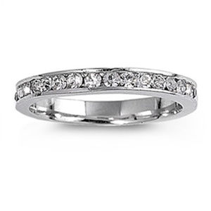 Sterling Channel CZ Eternity Band